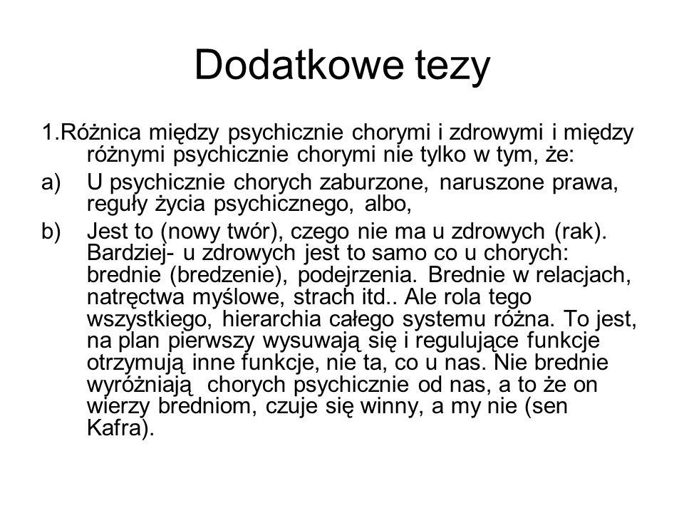 Dodatkowe tezy 1.Różnica między psychicznie chorymi i zdrowymi i między różnymi psychicznie chorymi nie tylko w tym, że: a)U psychicznie chorych zabur