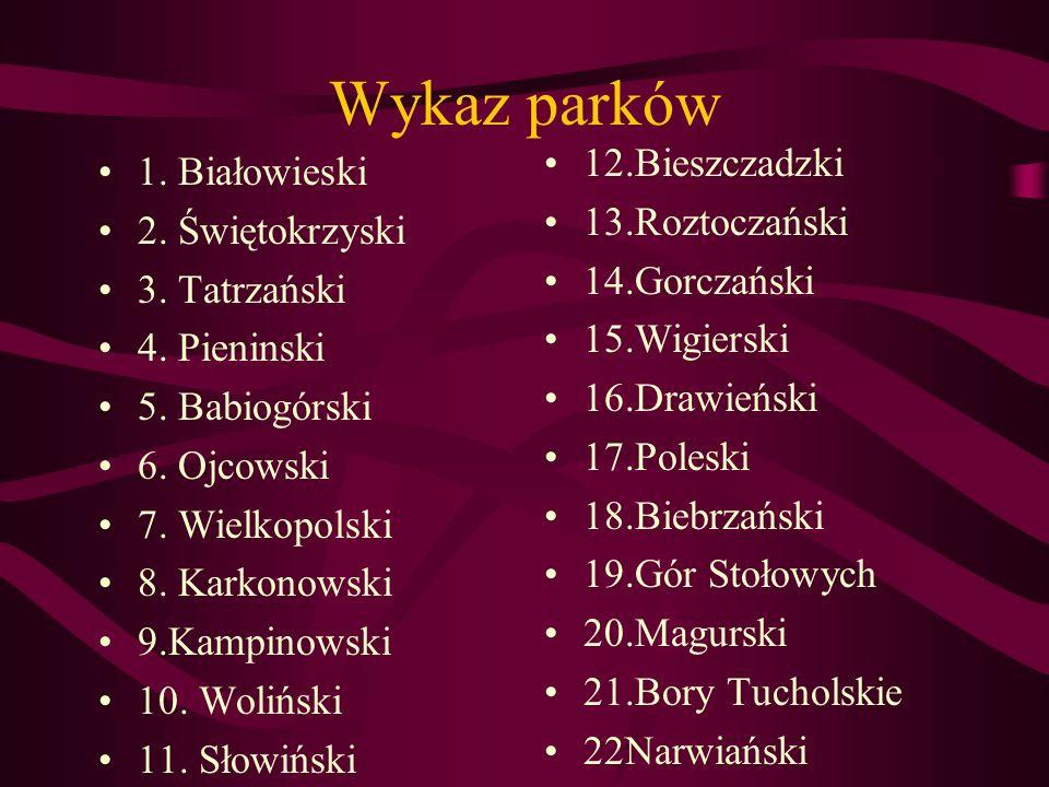 Wykaz parków 1.Białowieski 2. Świętokrzyski 3. Tatrzański 4.