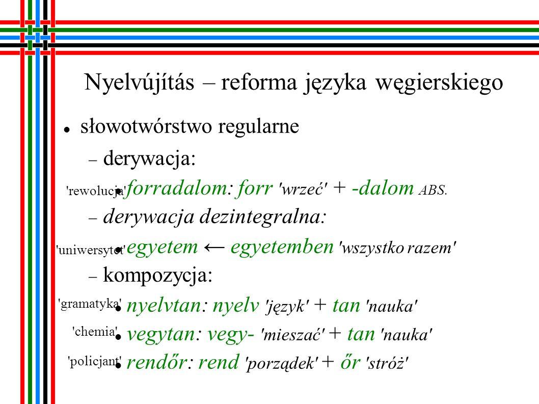 Nyelvújítás – reforma języka węgierskiego słowotwórstwo nieregularne wyizolowanie nowych sufiksów derywacyjnych csárda -da: uszoda: usz- pływać + -da MIEJSCE kompozycja: röpirat: röp- latać + (ír pisać + at EFEKT ) kontaminacja: lég: levegő powietrze × ég niebo karczma pływalnia ulotka powietrze (np.