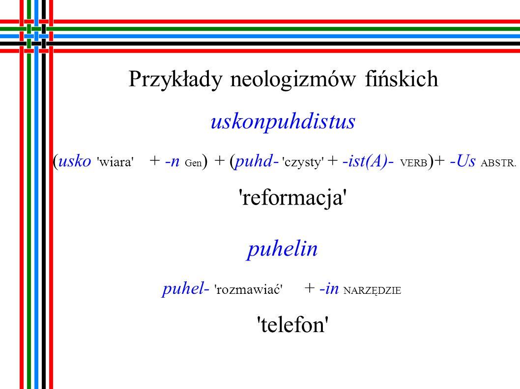 Przykłady neologizmów fińskich monikko moni- dużo + -kkO NAZWA ZBIOROWOŚCI liczba mnoga itsenäinen itse samo + -nAinen PRZYMIOTNIK niepodległy