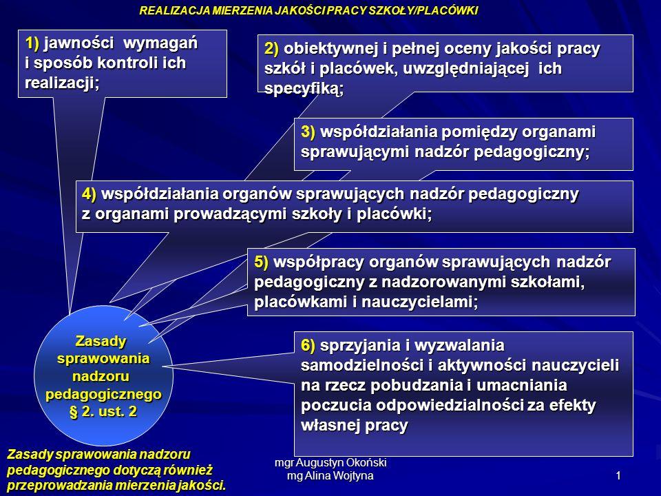mgr Augustyn Okoński mg Alina Wojtyna 1 REALIZACJA MIERZENIA JAKOŚCI PRACY SZKOŁY/PLACÓWKI Zasadysprawowanianadzorupedagogicznego § 2. ust. 2 1) jawno