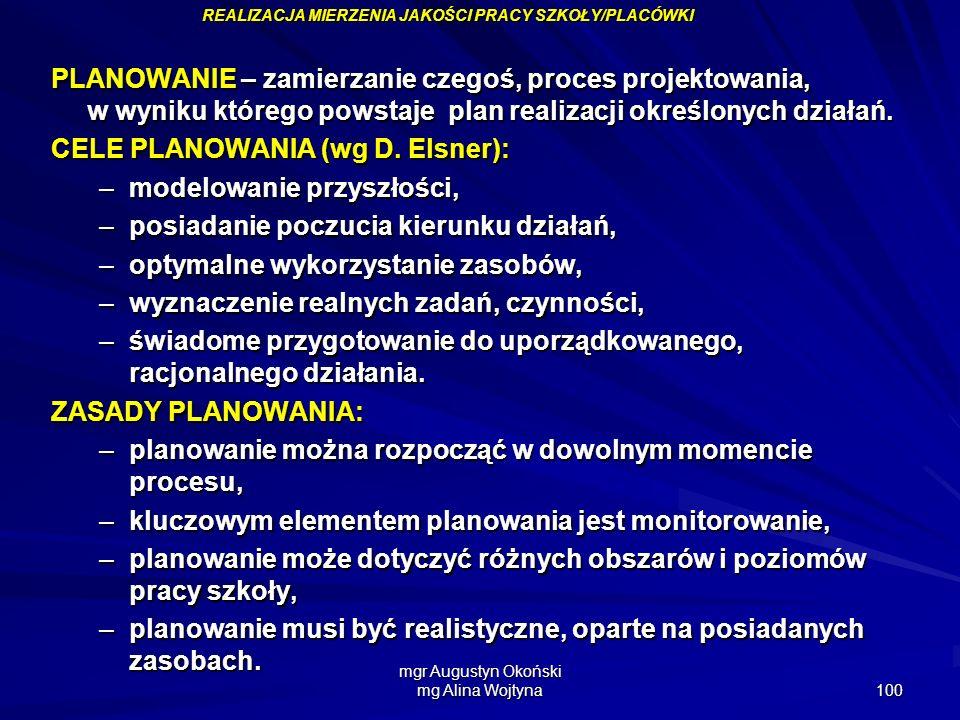 mgr Augustyn Okoński mg Alina Wojtyna 100 PLANOWANIE – zamierzanie czegoś, proces projektowania, w wyniku którego powstaje plan realizacji określonych