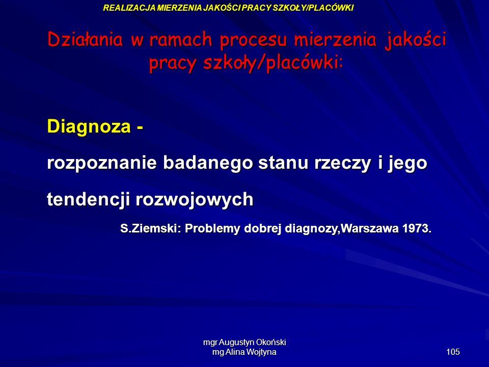 mgr Augustyn Okoński mg Alina Wojtyna 105 REALIZACJA MIERZENIA JAKOŚCI PRACY SZKOŁY/PLACÓWKI Działania w ramach procesu mierzenia jakości pracy szkoły