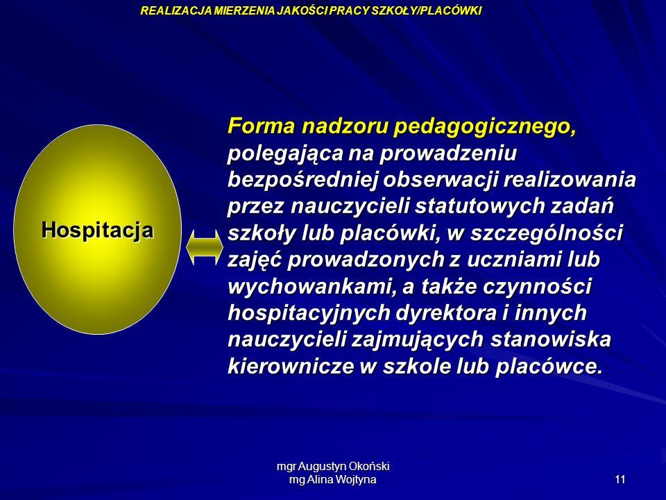 mgr Augustyn Okoński mg Alina Wojtyna 11 Hospitacja Forma nadzoru pedagogicznego, polegająca na prowadzeniu bezpośredniej obserwacji realizowania prze