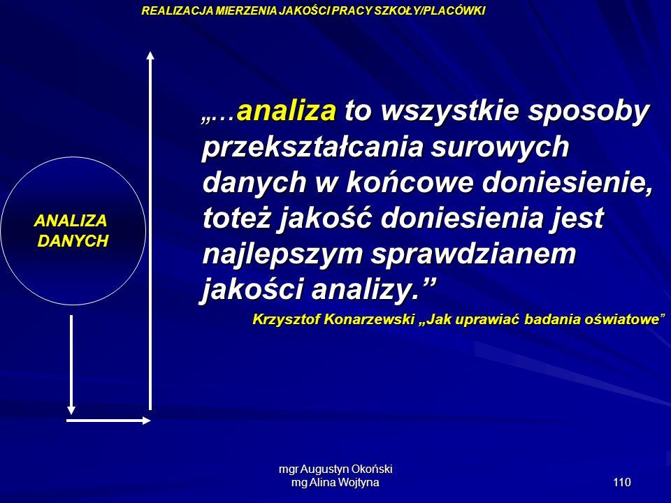 mgr Augustyn Okoński mg Alina Wojtyna 110 ANALIZADANYCH...analiza to wszystkie sposoby przekształcania surowych danych w końcowe doniesienie, toteż ja
