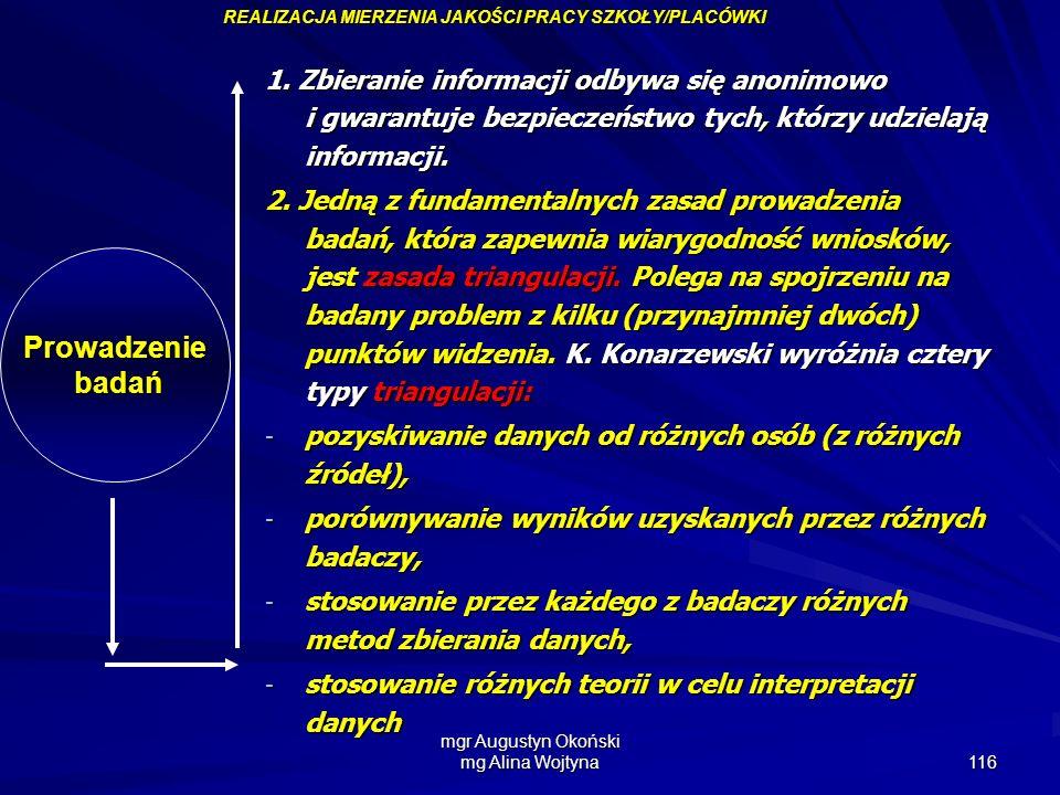 mgr Augustyn Okoński mg Alina Wojtyna 116 Prowadzenie badań badań 1. Zbieranie informacji odbywa się anonimowo i gwarantuje bezpieczeństwo tych, którz