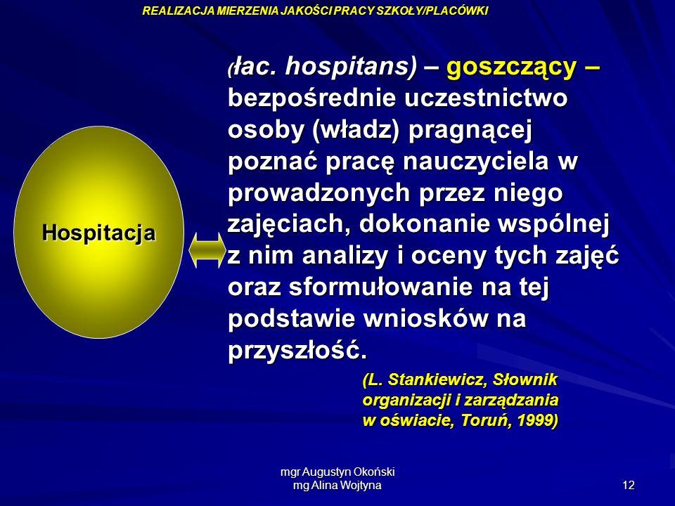 mgr Augustyn Okoński mg Alina Wojtyna 12 ( łac. hospitans) – goszczący – bezpośrednie uczestnictwo osoby (władz) pragnącej poznać pracę nauczyciela w