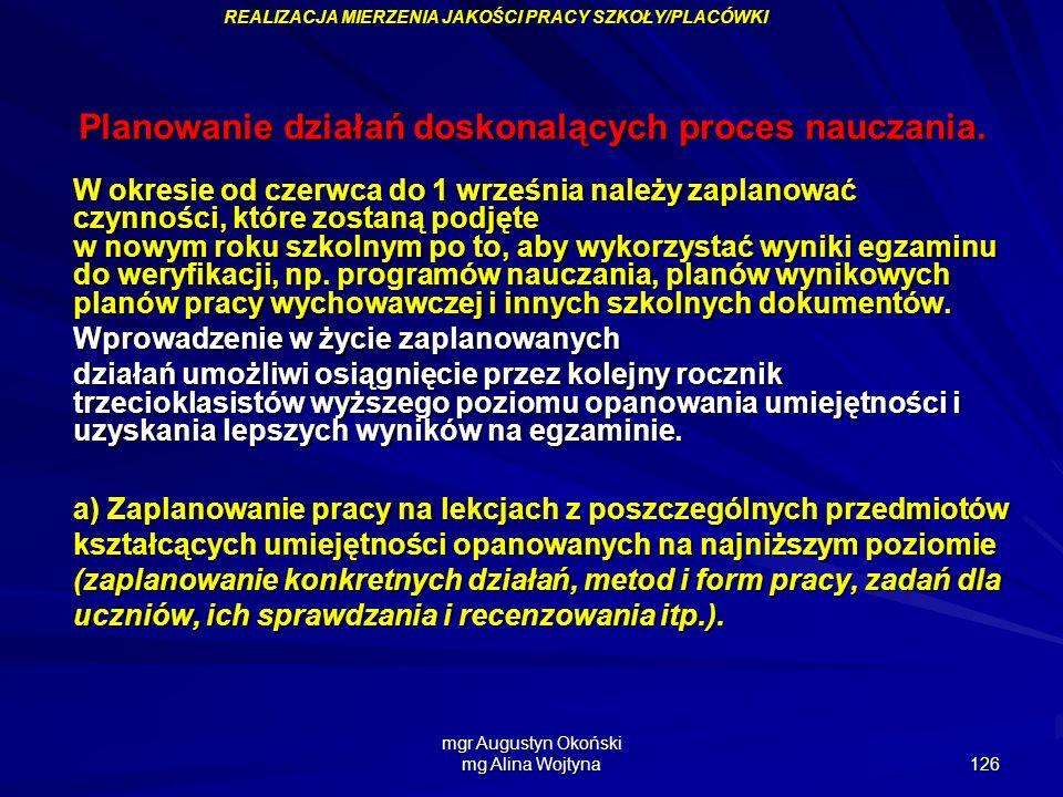 mgr Augustyn Okoński mg Alina Wojtyna 126 Planowanie działań doskonalących proces nauczania. W okresie od czerwca do 1 września należy zaplanować czyn