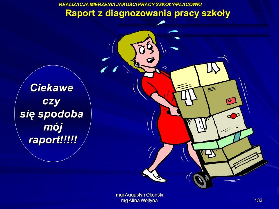 mgr Augustyn Okoński mg Alina Wojtyna 133 Ciekaweczy się spodoba mójraport!!!!! Raport z diagnozowania pracy szkoły REALIZACJA MIERZENIA JAKOŚCI PRACY
