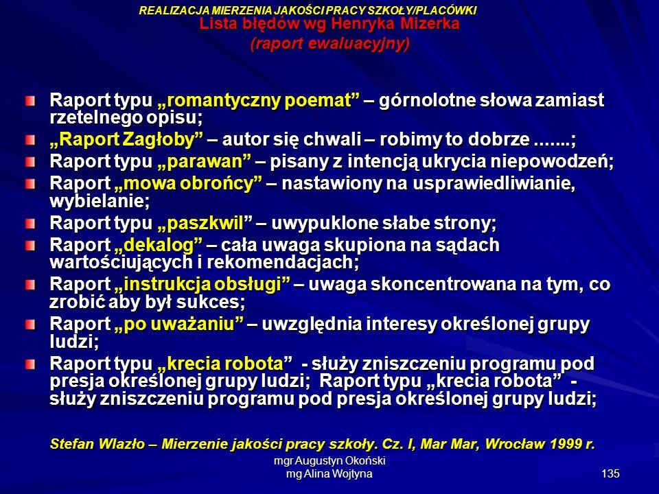 mgr Augustyn Okoński mg Alina Wojtyna 135 Lista błędów wg Henryka Mizerka (raport ewaluacyjny) Raport typu romantyczny poemat – górnolotne słowa zamia