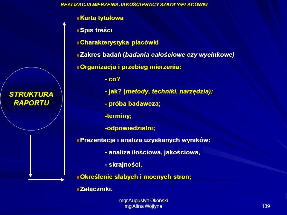 mgr Augustyn Okoński mg Alina Wojtyna 139 STRUKTURARAPORTU Karta tytułowa Spis treści Charakterystyka placówki Zakres badań (badania całościowe czy wy