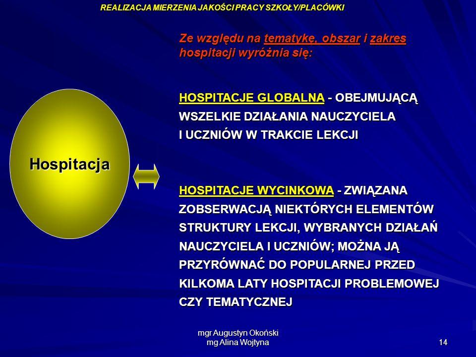 mgr Augustyn Okoński mg Alina Wojtyna 14 Ze względu na tematykę, obszar i zakres hospitacji wyróżnia się: HOSPITACJE GLOBALNA - OBEJMUJĄCĄ WSZELKIE DZ