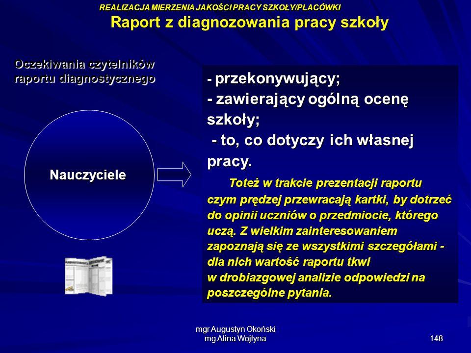 mgr Augustyn Okoński mg Alina Wojtyna 148 Nauczyciele przekonywujący; - przekonywujący; - zawierający ogólną ocenę szkoły; - to, co dotyczy ich własne