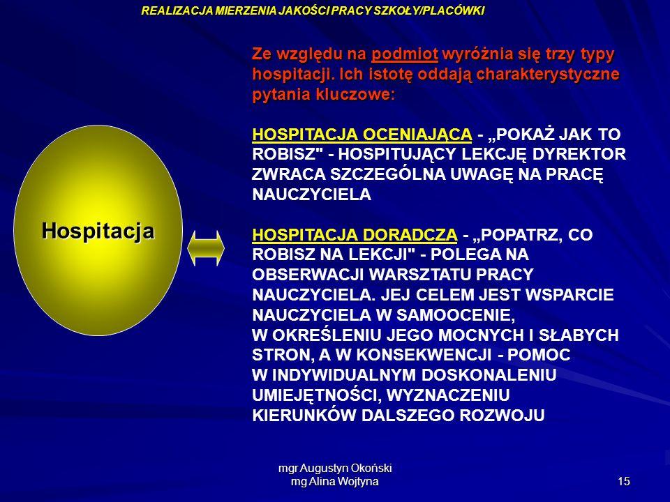 mgr Augustyn Okoński mg Alina Wojtyna 15 Ze względu na podmiot wyróżnia się trzy typy hospitacji. Ich istotę oddają charakterystyczne pytania kluczowe