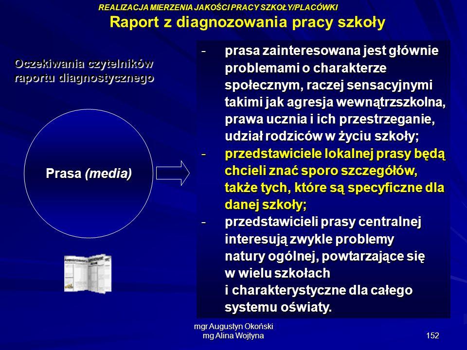 mgr Augustyn Okoński mg Alina Wojtyna 152 Prasa (media) -prasa zainteresowana jest głównie problemami o charakterze społecznym, raczej sensacyjnymi ta