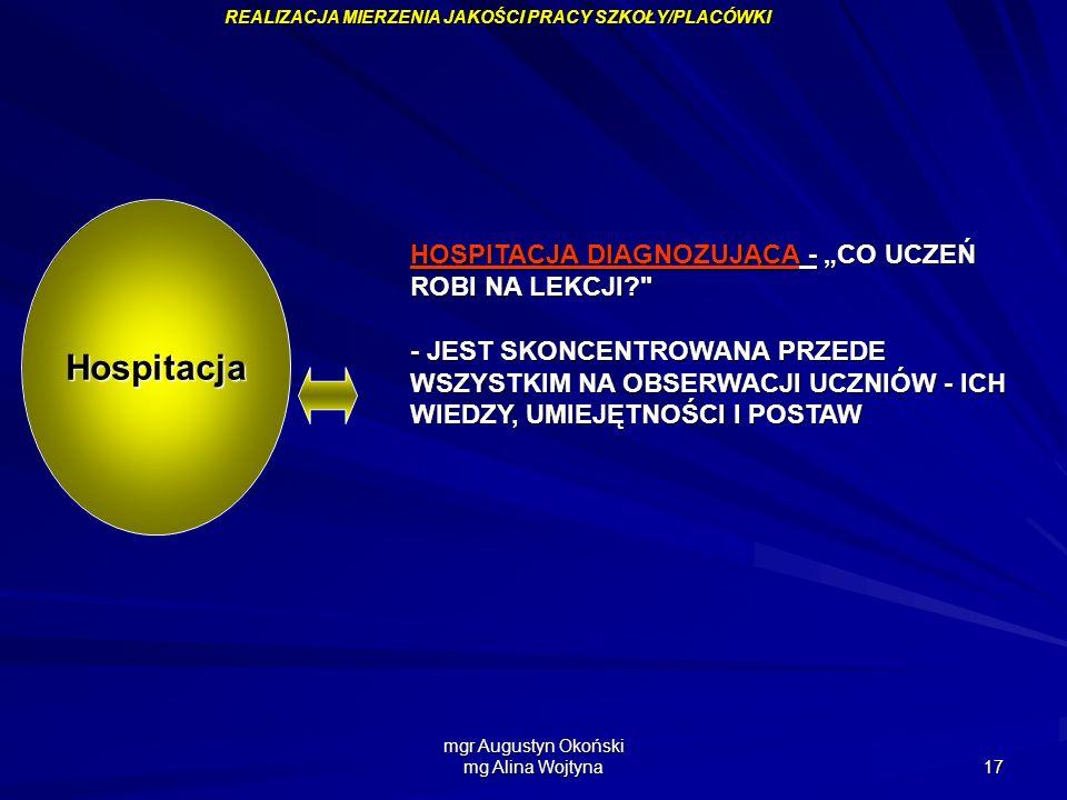 mgr Augustyn Okoński mg Alina Wojtyna 17 HOSPITACJA DIAGNOZUJĄCA - CO UCZEŃ ROBI NA LEKCJI?