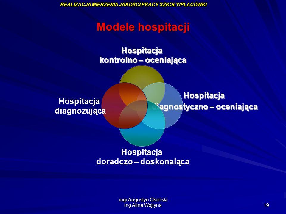 mgr Augustyn Okoński mg Alina Wojtyna 19 Modele hospitacji Hospitacja kontrolno – oceniająca kontrolno – oceniająca Hospitacja diagnostyczno – oceniaj