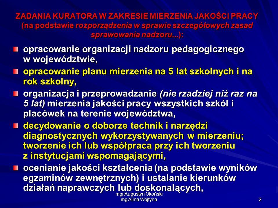 mgr Augustyn Okoński mg Alina Wojtyna 2 ZADANIA KURATORA W ZAKRESIE MIERZENIA JAKOŚCI PRACY (na podstawie rozporządzenia w sprawie szczegółowych zasad