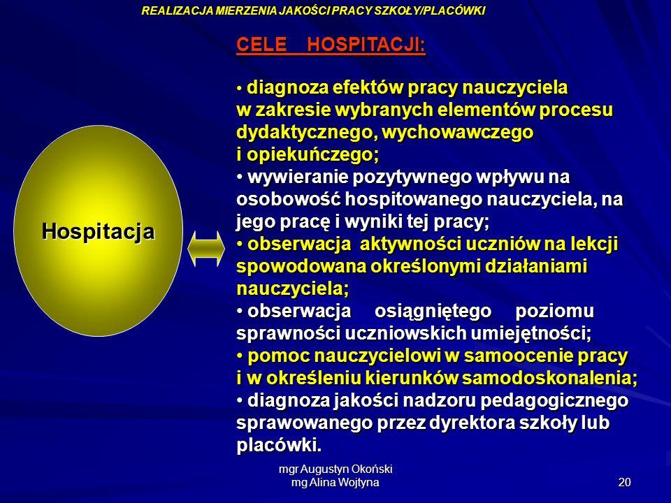 mgr Augustyn Okoński mg Alina Wojtyna 20 CELE HOSPITACJI: CELE HOSPITACJI: diagnoza efektów pracy nauczyciela w zakresie wybranych elementów procesu d