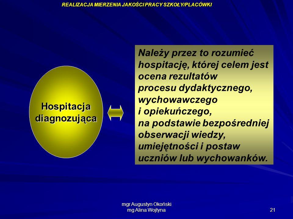 mgr Augustyn Okoński mg Alina Wojtyna 21 Należy przez to rozumieć hospitację, której celem jest ocena rezultatów procesu dydaktycznego, wychowawczego