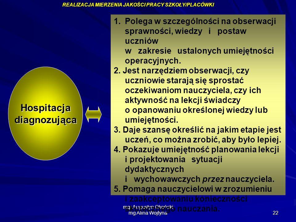 mgr Augustyn Okoński mg Alina Wojtyna 22 1.Polega w szczególności na obserwacji sprawności, wiedzy i postaw uczniów w zakresie ustalonych umiejętności