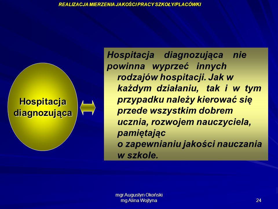 mgr Augustyn Okoński mg Alina Wojtyna 24 Hospitacja diagnozująca nie powinna wyprzeć innych rodzajów hospitacji. Jak w każdym działaniu, tak i w tym p