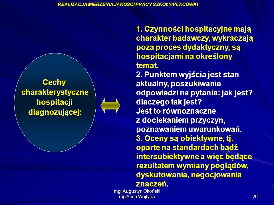 mgr Augustyn Okoński mg Alina Wojtyna 26 Cechycharakterystycznehospitacjidiagnozującej: REALIZACJA MIERZENIA JAKOŚCI PRACY SZKOŁY/PLACÓWKI 1. Czynnośc