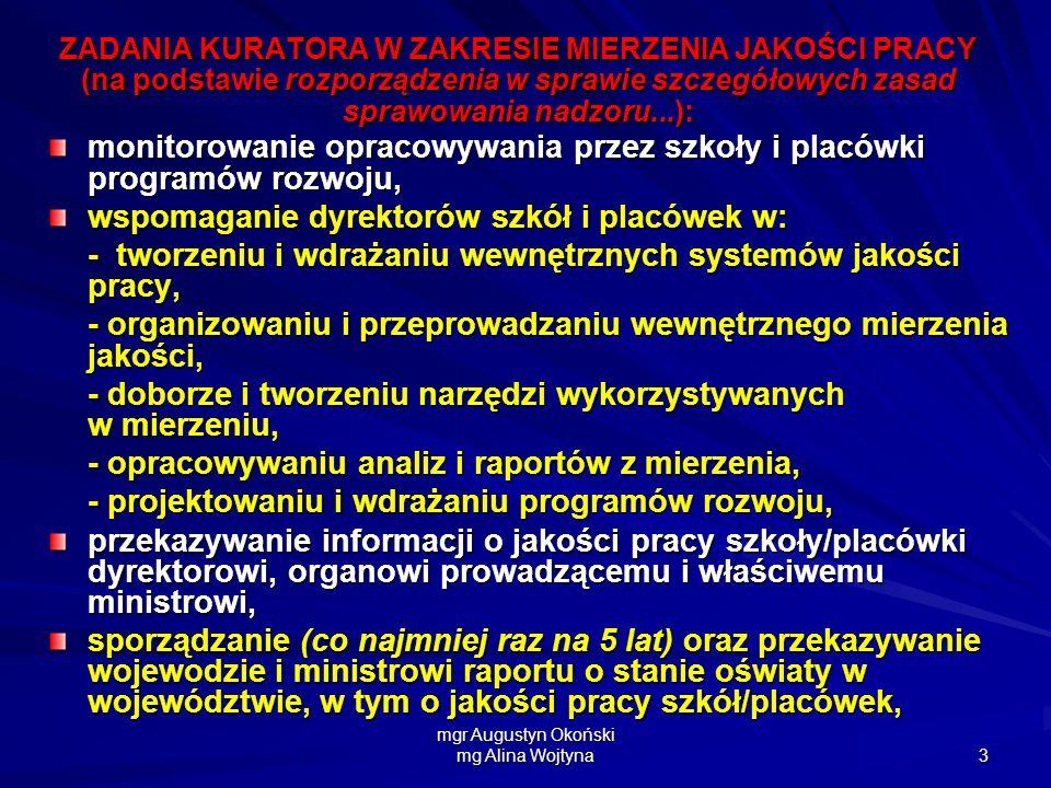 mgr Augustyn Okoński mg Alina Wojtyna 3 ZADANIA KURATORA W ZAKRESIE MIERZENIA JAKOŚCI PRACY (na podstawie rozporządzenia w sprawie szczegółowych zasad