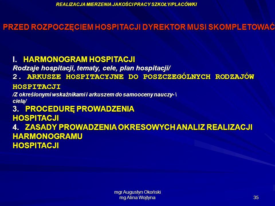 mgr Augustyn Okoński mg Alina Wojtyna 35 PRZED ROZPOCZĘCIEM HOSPITACJI DYREKTOR MUSI SKOMPLETOWAĆ: HARMONOGRAM HOSPITACJI l. HARMONOGRAM HOSPITACJI Ro