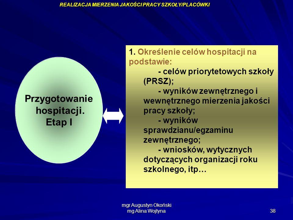 mgr Augustyn Okoński mg Alina Wojtyna 38 Przygotowanie hospitacji. Etap I 1. Określenie celów hospitacji na podstawie: - celów priorytetowych szkoły (