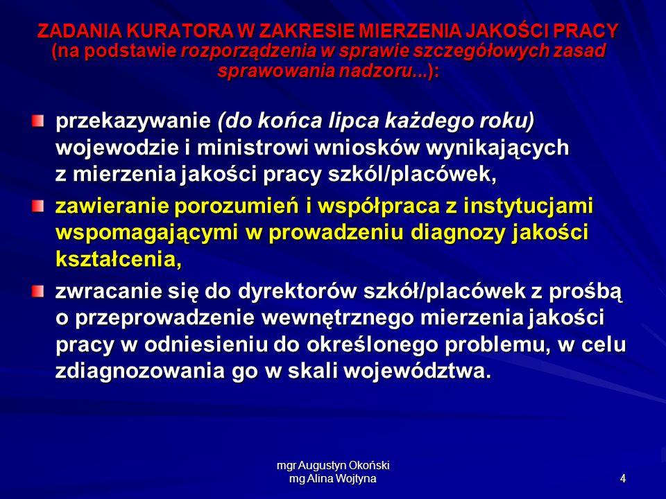 mgr Augustyn Okoński mg Alina Wojtyna 4 ZADANIA KURATORA W ZAKRESIE MIERZENIA JAKOŚCI PRACY (na podstawie rozporządzenia w sprawie szczegółowych zasad