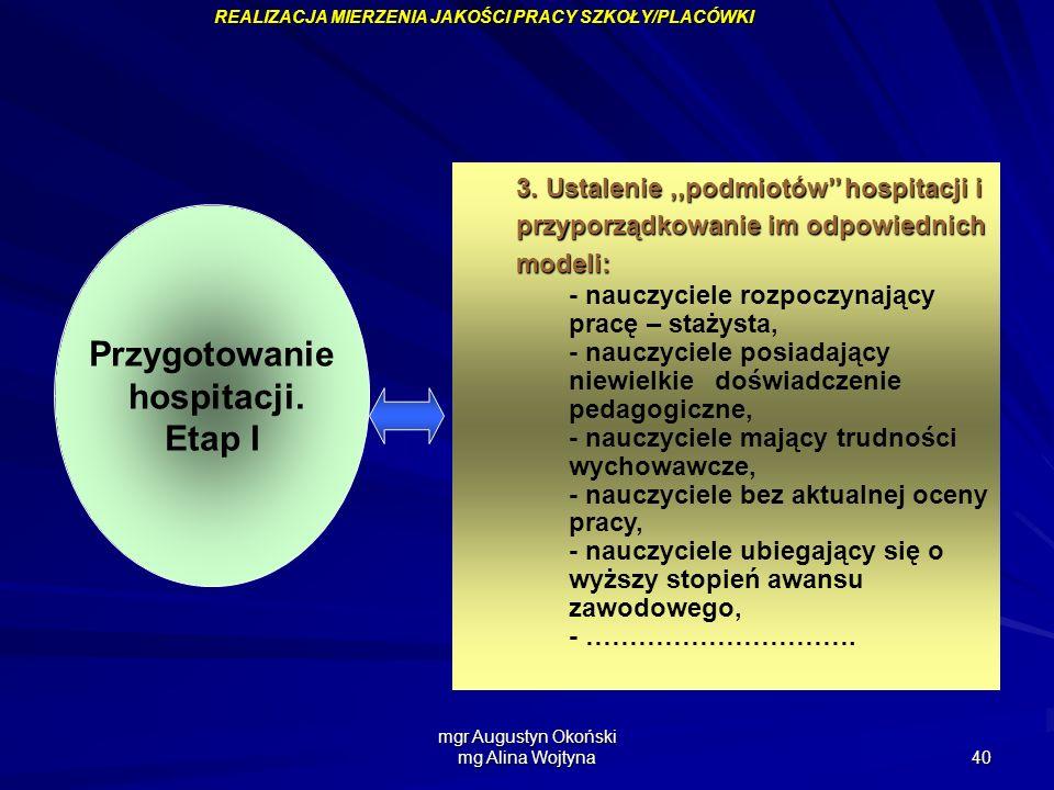 mgr Augustyn Okoński mg Alina Wojtyna 40 Przygotowanie hospitacji. Etap I 3. Ustalenie,,podmiotów hospitacji i przyporządkowanie im odpowiednich model