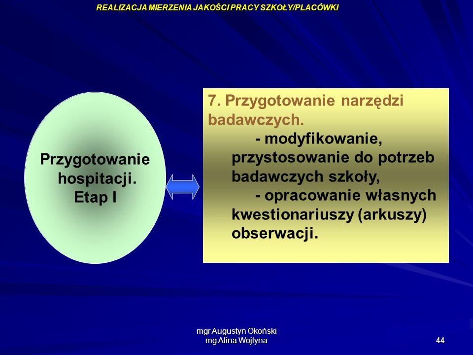 mgr Augustyn Okoński mg Alina Wojtyna 44 Przygotowanie hospitacji. Etap I 7. Przygotowanie narzędzi badawczych. - modyfikowanie, przystosowanie do pot