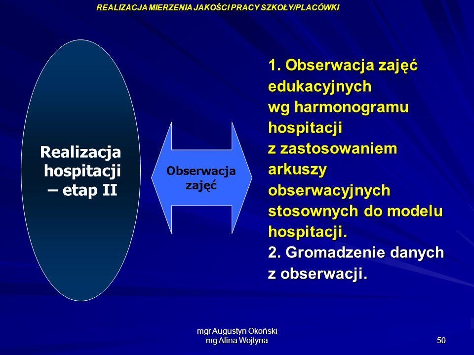 mgr Augustyn Okoński mg Alina Wojtyna 50 1. Obserwacja zajęć edukacyjnych wg harmonogramu hospitacji z zastosowaniem arkuszyobserwacyjnych stosownych