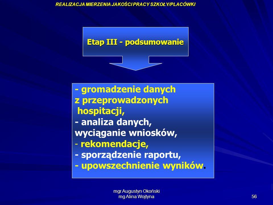 mgr Augustyn Okoński mg Alina Wojtyna 56 Etap III - podsumowanie - gromadzenie danych z przeprowadzonych hospitacji, - analiza danych, wyciąganie wnio