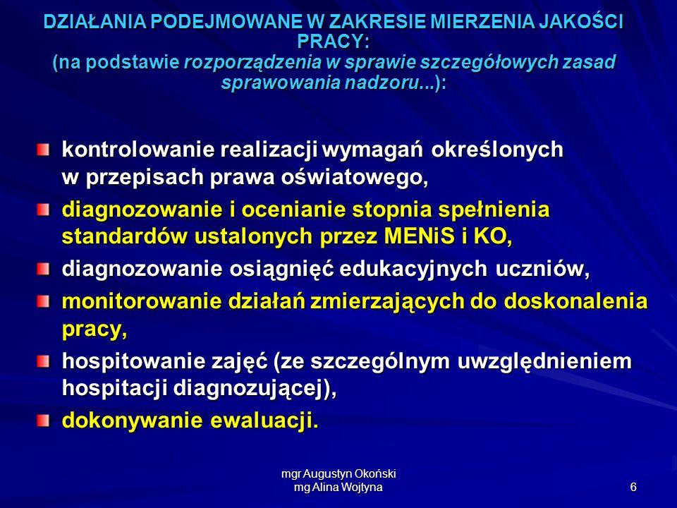 mgr Augustyn Okoński mg Alina Wojtyna 6 DZIAŁANIA PODEJMOWANE W ZAKRESIE MIERZENIA JAKOŚCI PRACY: (na podstawie rozporządzenia w sprawie szczegółowych