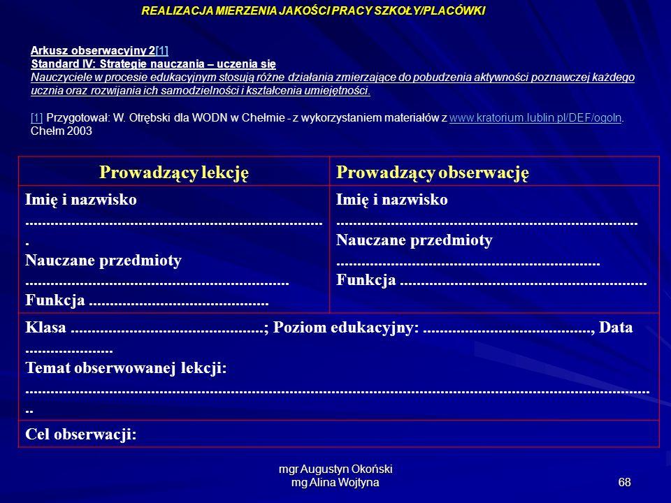 mgr Augustyn Okoński mg Alina Wojtyna 68 Arkusz obserwacyjny 2[1][1] Standard IV: Strategie nauczania – uczenia się Nauczyciele w procesie edukacyjnym