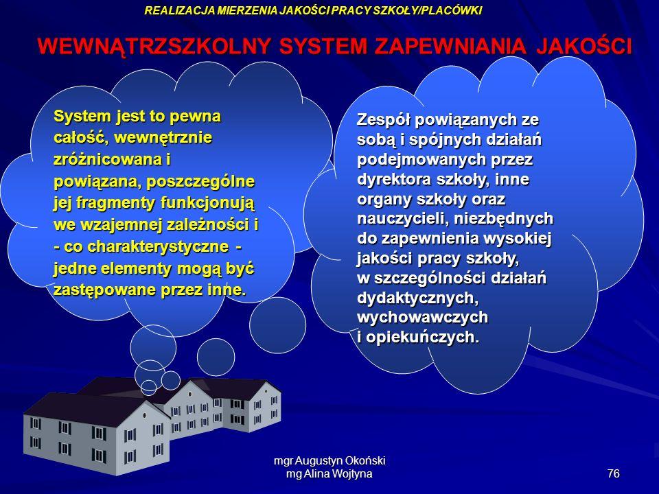 mgr Augustyn Okoński mg Alina Wojtyna 76 WEWNĄTRZSZKOLNY SYSTEM ZAPEWNIANIA JAKOŚCI REALIZACJA MIERZENIA JAKOŚCI PRACY SZKOŁY/PLACÓWKI System jest to