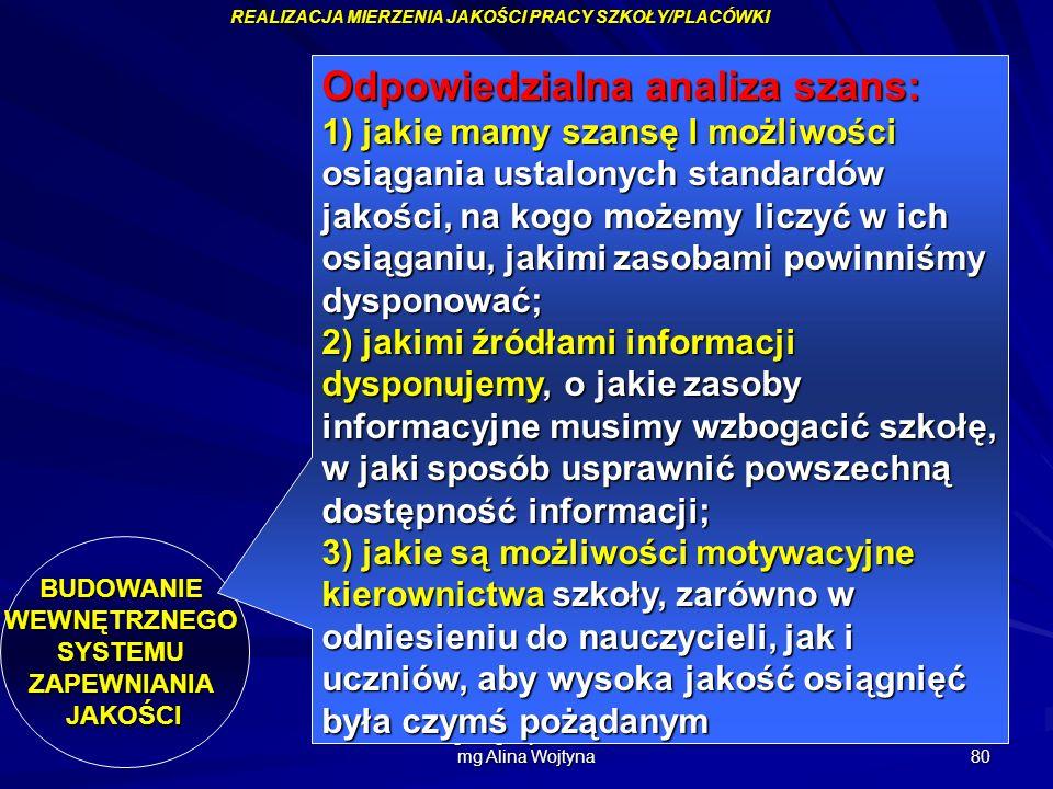 mgr Augustyn Okoński mg Alina Wojtyna 80 REALIZACJA MIERZENIA JAKOŚCI PRACY SZKOŁY/PLACÓWKI BUDOWANIEWEWNĘTRZNEGOSYSTEMUZAPEWNIANIAJAKOŚCI Odpowiedzia