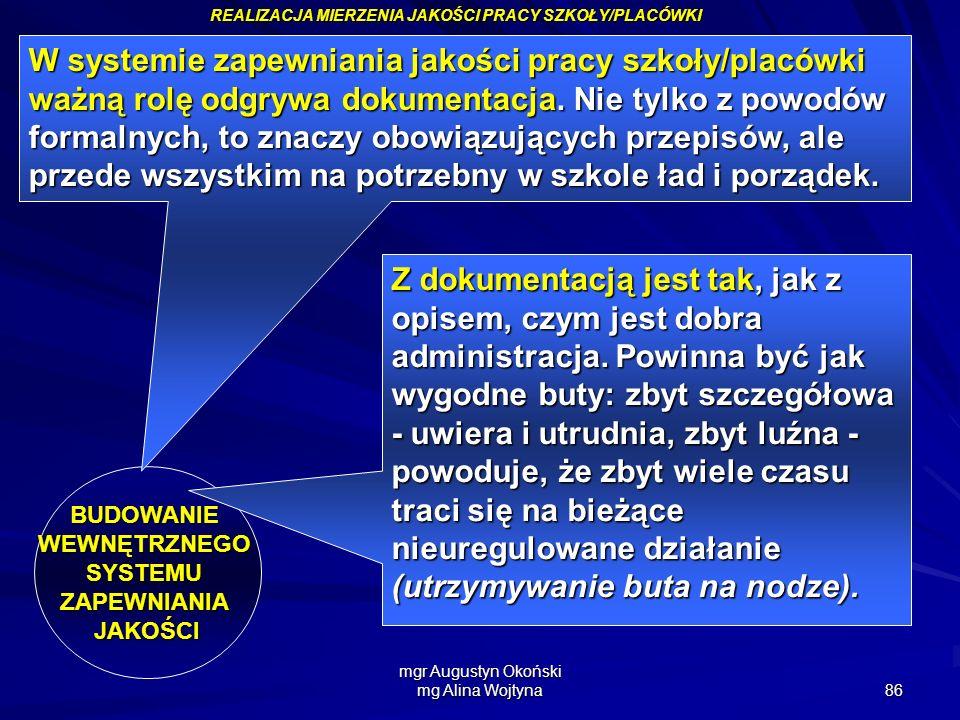 mgr Augustyn Okoński mg Alina Wojtyna 86 REALIZACJA MIERZENIA JAKOŚCI PRACY SZKOŁY/PLACÓWKI BUDOWANIEWEWNĘTRZNEGOSYSTEMUZAPEWNIANIAJAKOŚCI W systemie