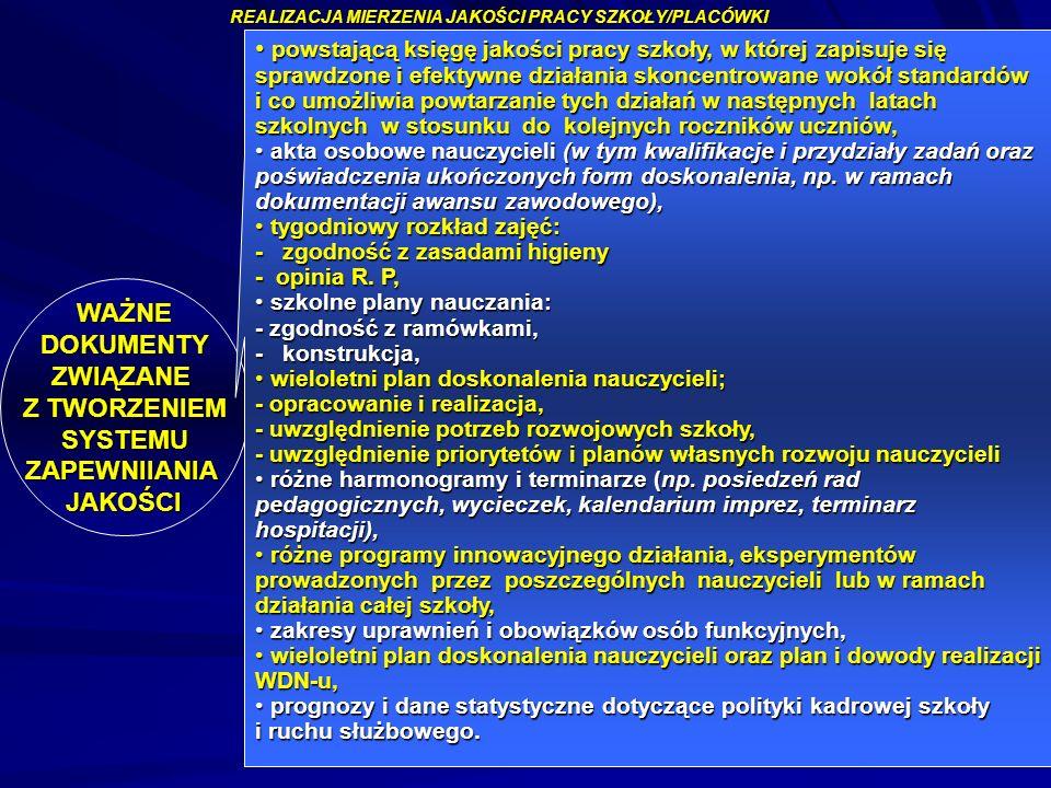 mgr Augustyn Okoński mg Alina Wojtyna 88 REALIZACJA MIERZENIA JAKOŚCI PRACY SZKOŁY/PLACÓWKI WAŻNE DOKUMENTY DOKUMENTYZWIĄZANE Z TWORZENIEM SYSTEMU SYS