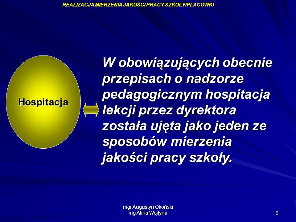 mgr Augustyn Okoński mg Alina Wojtyna 9 Hospitacja W obowiązujących obecnie przepisach o nadzorze pedagogicznym hospitacja lekcji przez dyrektora zost