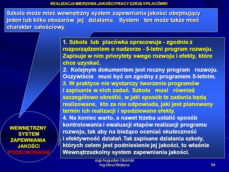 mgr Augustyn Okoński mg Alina Wojtyna 94 REALIZACJA MIERZENIA JAKOŚCI PRACY SZKOŁY/PLACÓWKI WEWNĘTRZNYSYSTEMZAPEWNIANIAJAKOŚCIPODSUMOWANIE Szkoła może
