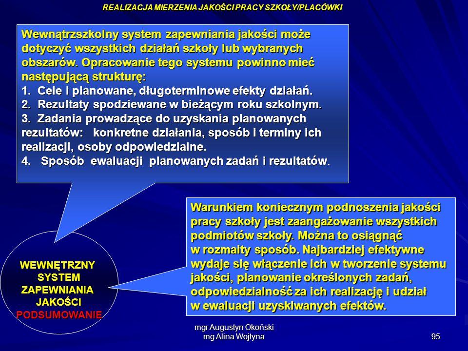 mgr Augustyn Okoński mg Alina Wojtyna 95 REALIZACJA MIERZENIA JAKOŚCI PRACY SZKOŁY/PLACÓWKI WEWNĘTRZNYSYSTEMZAPEWNIANIAJAKOŚCIPODSUMOWANIE Wewnątrzszk