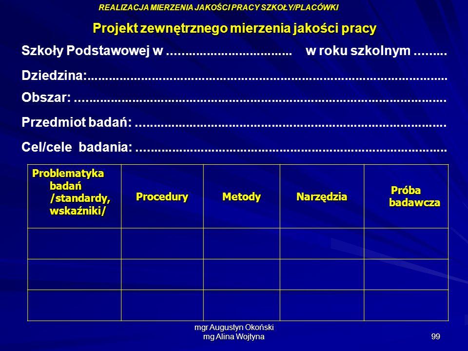 mgr Augustyn Okoński mg Alina Wojtyna 99 Projekt zewnętrznego mierzenia jakości pracy Szkoły Podstawowej w................................... w roku s