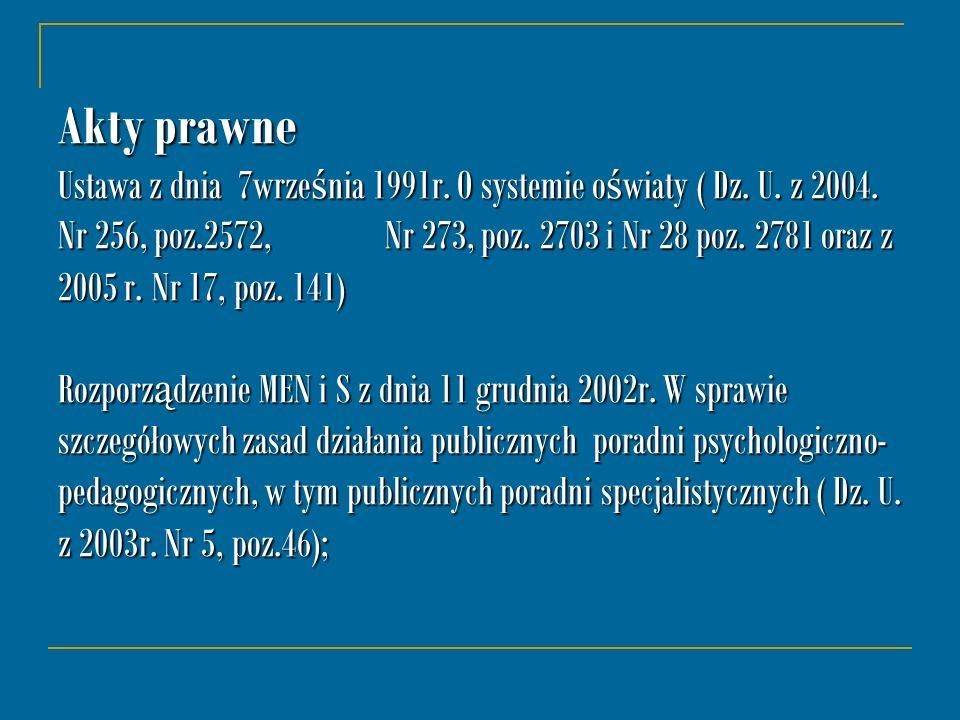 Akty prawne Ustawa z dnia 7wrze ś nia 1991r. O systemie o ś wiaty ( Dz. U. z 2004. Nr 256, poz.2572, Nr 273, poz. 2703 i Nr 28 poz. 2781 oraz z 2005 r