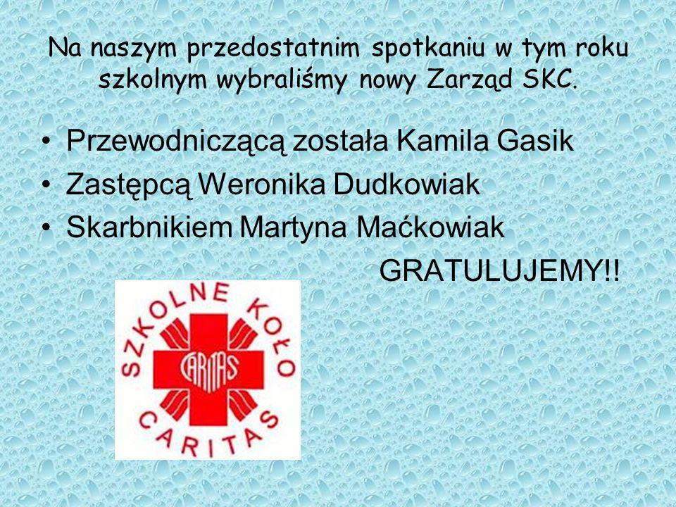Na naszym przedostatnim spotkaniu w tym roku szkolnym wybraliśmy nowy Zarząd SKC. Przewodniczącą została Kamila Gasik Zastępcą Weronika Dudkowiak Skar