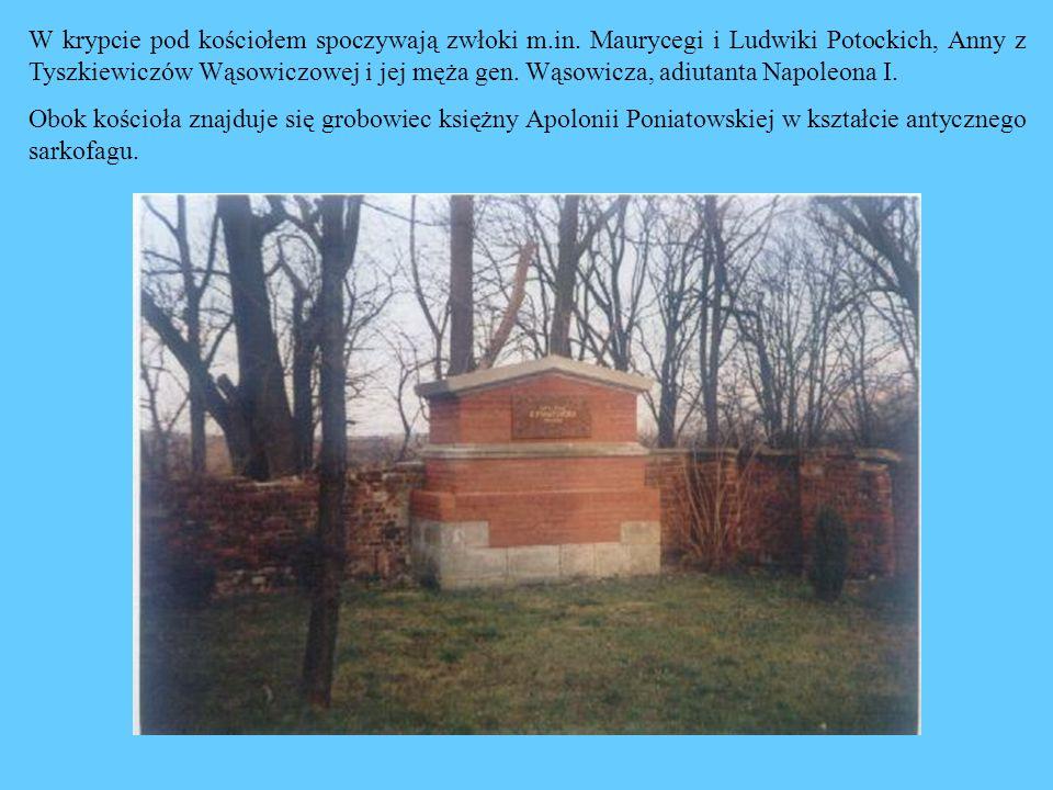 W krypcie pod kościołem spoczywają zwłoki m.in. Maurycegi i Ludwiki Potockich, Anny z Tyszkiewiczów Wąsowiczowej i jej męża gen. Wąsowicza, adiutanta