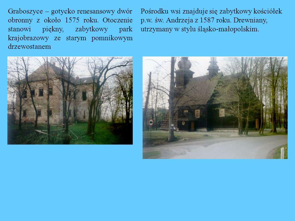Graboszyce – gotycko renesansowy dwór obronny z około 1575 roku. Otoczenie stanowi piękny, zabytkowy park krajobrazowy ze starym pomnikowym drzewostan