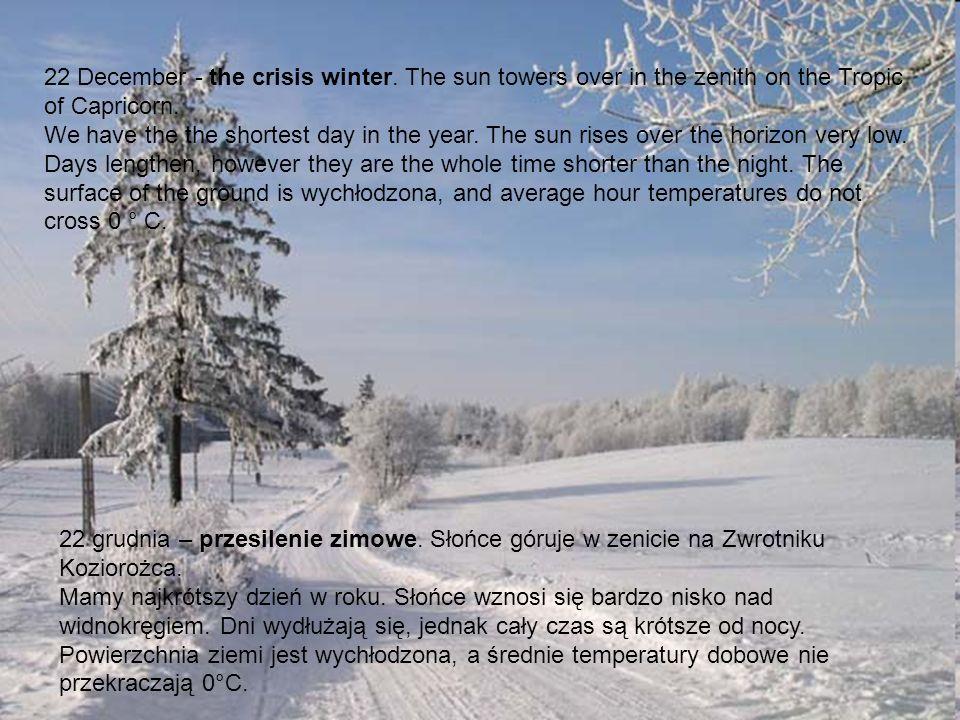 22 grudnia – przesilenie zimowe. Słońce góruje w zenicie na Zwrotniku Koziorożca. Mamy najkrótszy dzień w roku. Słońce wznosi się bardzo nisko nad wid